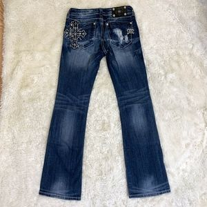 Miss Me Embellished Cross Boot Cut Jeans - Size 28